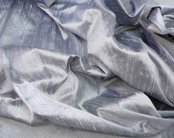 Silver-Grey, Black dual shaded pure silk dupioni -  DEX 237 A