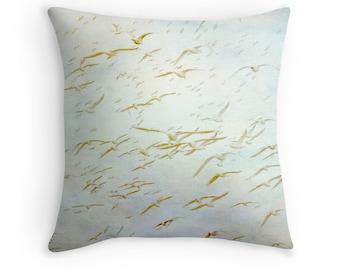 Bird Pillow, Seagull Throw Pillow, Bird Cushion, Beach Decor, Nature Pillow, Sea Gull Cushion, Pastel Pillow, Watercolor Cushion, Bird Decor