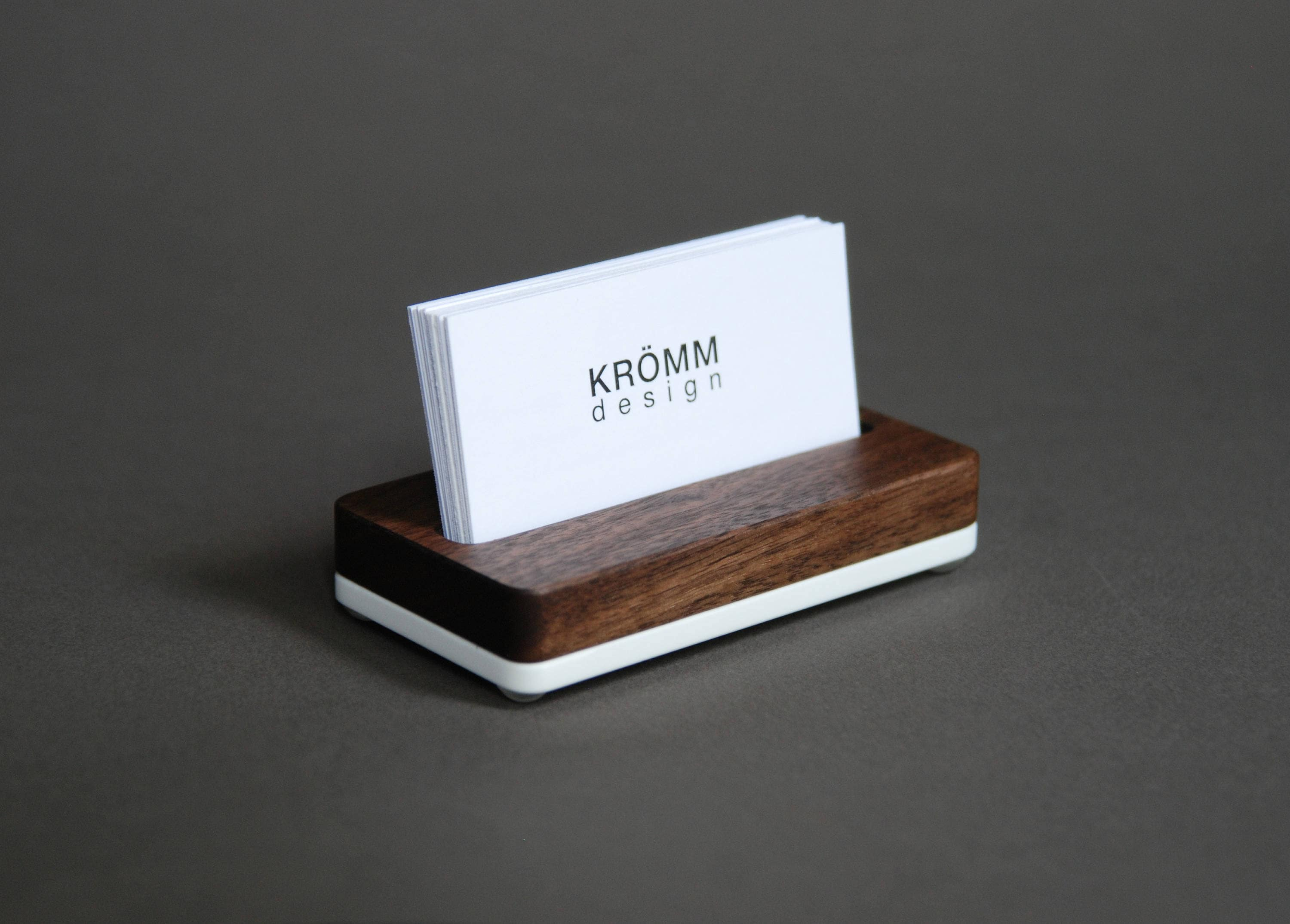 Wood Single Business Card Stand / Walnut Wood and Acrylic Business ...