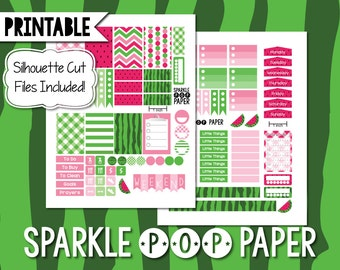 Watermelon Printable Weekly Layout Happy Planner Stickers with Silhouette Cut Files