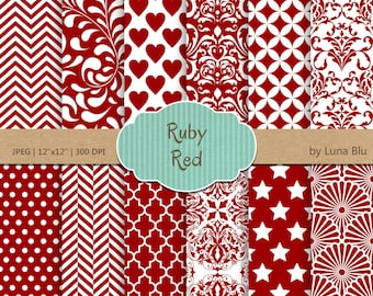 """Ruby Red Digital Paper: """"Ruby Red Patterns"""" red scrapbook paper for invitations, cardmaking, stationary, red backgrounds"""