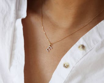 14K Solid gold Diamond Alphabet Initial Necklace, Mother's day gift,  Bridesmaid Necklace, Diamond Gift for Her 14K Solid by E&E PROJECT