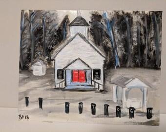 "Country Church Original Acrylic Painting 8""x10"""