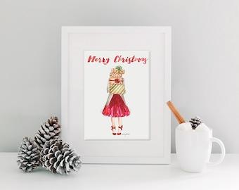 INSTANT DOWNLOAD - The Christmas Girl - Christmas Card, Merry Christmas printable stationary and art