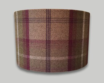 Lamp shades etsy uk balmoral heather tartan tweed check drum lampshade lightshade country lamp shade 20cm 25cm 30cm 35cm 40cm mozeypictures Choice Image