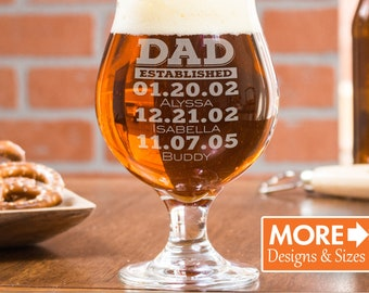 Beer Gift, Beer Glass, Pint, Dad Est, Gift For Dad, Dad Established Glass, Gift From Wife, Personalized Beer Glass, Custom Pint Glasses
