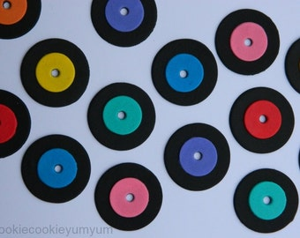 12 edible MUSIC RETRO vinyl RECORDS lp disco cupcake cake topper decorations anniversary birthday 16th 18th 21st