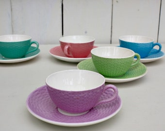 French Coffee Cups, Sarreguemines, Digoin Sarreguemines, Cup and Saucer, French Vintage, French Kitchen, French Country Home