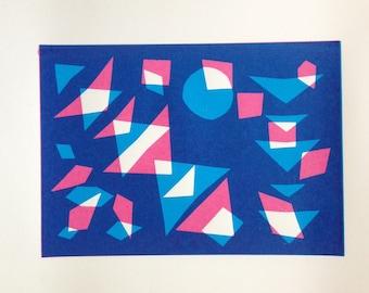 Handmade geometric screenprint