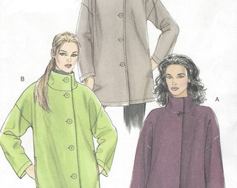 Womens Jackets or Car Coat with Hood or Stand Up Collar OOP Vogue Sewing Pattern V8539 Size 8 10 12 14 16 Bust 31 1/2 to 38 FF Very Easy