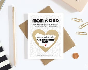1 Scratch Off Card Pregnancy Reveal to Parents - Pregnancy Announcement - New Grandparents - grandparents to be