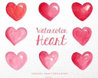 Heart Watercolor clipart, heart clipart, valentines day clipart ,pink clip art, love clip art, digital clipart, lovely clipart, pink clipart