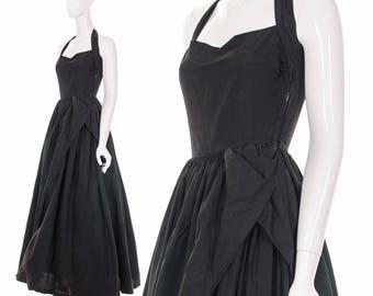 1950's BLACK HALTER Dress Bombshell Dress Pinup Couture Dress Retro Formal Dress Evening Dress Prom Dress Cocktail Dress Marilyn Monroe S