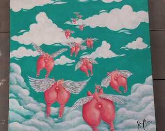 PIG DREAM -Flying away -Original Acrylic Painting