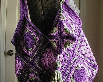 DOWNLOADABLE PDF Pattern - Crocheted Vintage Style Granny Square Bag