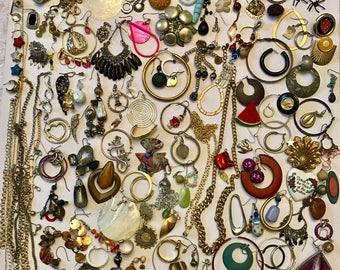 Vintage to Now Junk Jewelry Lot Broken Jewelry Lot Craft Jewelry Lot Single Earring Chain Lot