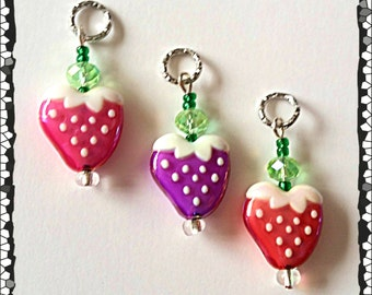 Hearing Aid Charms:  Sweet Pearlescent Strawberries with Glass Accent Beads!