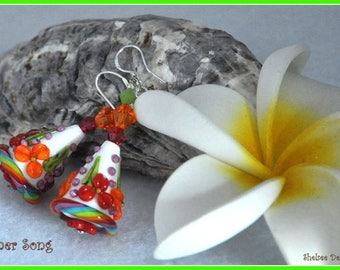 White Earrings,Bright Colorful Earrings, Rainbow color Earrings,Floral Cone Earrings,Dangle Earrings,Flower Jewelry - SUMMER SONG