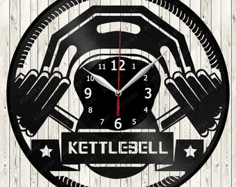Kettlebell Vinyl Clock Handmade Art Decor Your Room Original Gift 1724