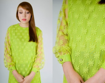 Vintage 60s Neon Lime Green Floral Midi Cocktail Party Dress with Sheer Poet Sleeves (sz S M 2 4 )