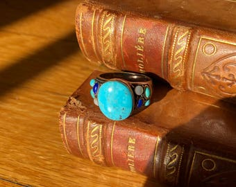 Turquoise lapis and moonstone ring