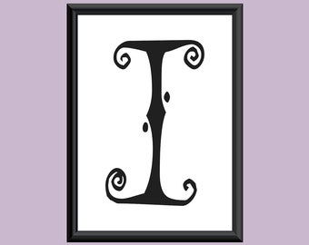 Typography Digital Print Monogram Initial Wall Art SpaGirl Letter I