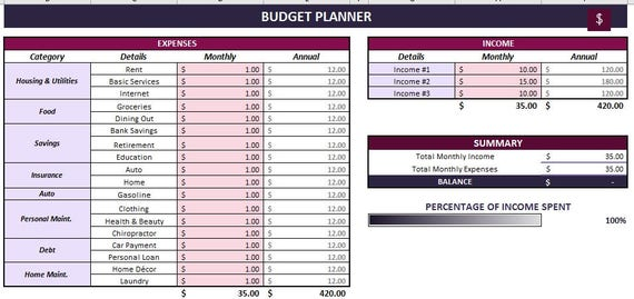 budget planning template excel