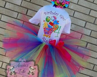 Girls Shopkins Birthday Party Tutu Outfit Dress Set Handmade