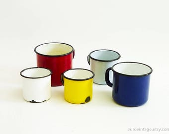 Vintage Set of 5 Colorful Enamel Mugs / Red Enamel Mug / Blue Yellow Mug / Enamelle White Mug