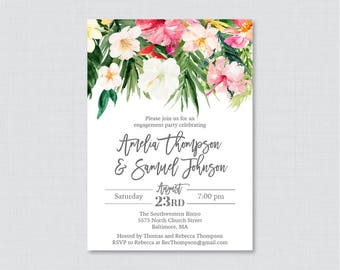 Tropical Engagement Party Invitation Printable or Printed - Hawaiian Flower Engagement Party - Palm Tree Leaf Luau Engagement Invite 0032