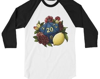 Marsala D20 3/4 sleeve raglan shirt - D&D Tabletop Gaming