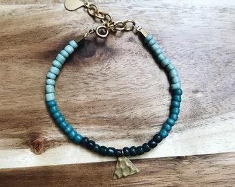 Turquesa Beaded Bracelet + Dainty + Brass + Adjustable + Triangle Charm  + Handmade Jewelry + Boho