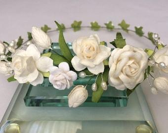 Tulips, roses and pearls tiara, wedding floral crown, bridal hairpiece, bridesmaid or flower girl crown, ivory crown, toddler tiara