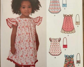 UNCUT Kids, Girls, Child Dress and Purse Sewing Pattern New Look 6358 Size 3-4-5-6-7-8 Spring, Summer Dress, Easter Dress, Flutter Sleeve