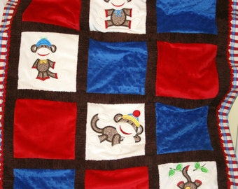 "Personalized  Baby Blanket  Appliqued, Minky  ""Sooo Lovable Sock Monkey"""