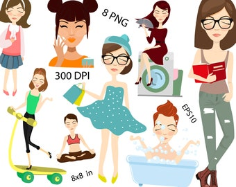 Girl Clipart Girl Clip Art Cute Girl Clipart Digital Planner Sticker Girl Digital Sticker Girl Life Clipart Fashion girls Lifestyle clipart