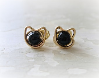 Cat Lover Gift, Small Black Cat Studs, Gold Filled Studs, Cat Stud Earrings, Black Onyx Studs, Cat Jewelry, Kitty Post Earrings, Cat Posts