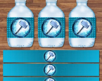 Thor Drink Labels - Thor Water Bottle Labels - Blue & White Logo - Thor Birthday - Thor Birthday Party Printables - 9.75 x 1.25 Inches