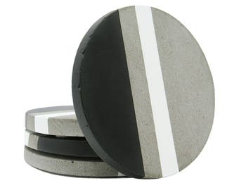 Concrete Coasters, Modern Coasters, Stone Coasters, Gift for Her, Unique Coasters, Minimal Coasters, Round Coasters, Black White - Set of 4
