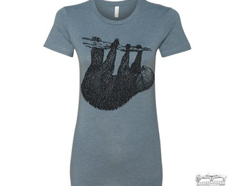Womens Tree SLOTH T-Shirt -hand screen printed s m l xl xxl (+ Colors Available) custom custom