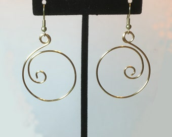Brass Curlique Earrings, Earrings for Women, Dangle Earrings, Round Earrings, Brass Earrings, Hoop Earrings, Tan Earrings