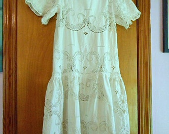 Fancy WHITE LACE Cotton Girlie DRESS, Edwardian Dropped Waist Style, Open Work Paisleys Raised Embroidery Scrolls Back Opening Girl Sz 8