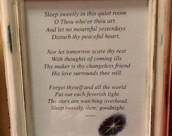 sleep sweetly, framed poem, author unknown, with added personal touch at bottom