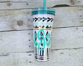 Personalized Aztec tumbler / monogrammed tribal tumbler / monogrammed travel cup / bridesmaid gifts / stocking stuffer / Christmas gift