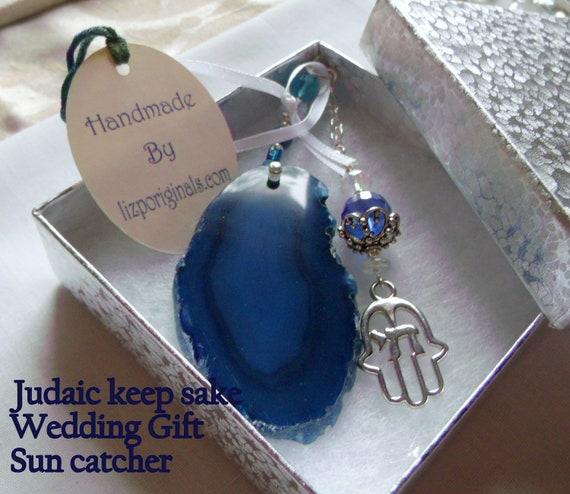 Chai Hamsa hand Ornament - Jewish wedding gift - Sun catcher teal blue - agate gemstone slice - Hanging stone - Judaic  keepsake - For Men