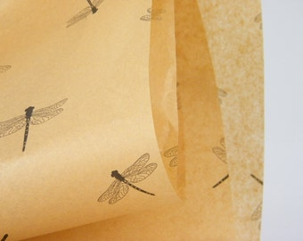 Dragonfly Tissue Paper | 24 sheets | Kraft Tan with Black Dragonflies | Gift Wrapping paper Tissue | Specialty Packaging