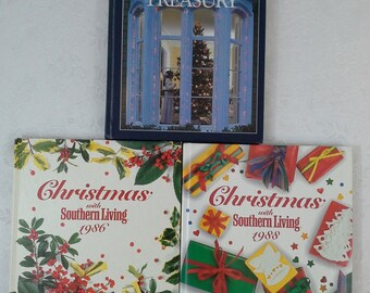 Set of 3 Christmas Books, 2 Southern Living, 1 Family Circle, 1986, 1988, Hardback, Recipes, Decorating