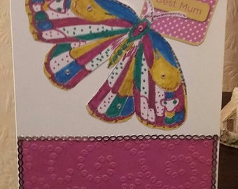 Handmade Embossed Butterfly 'Best Mum' Greeting Card