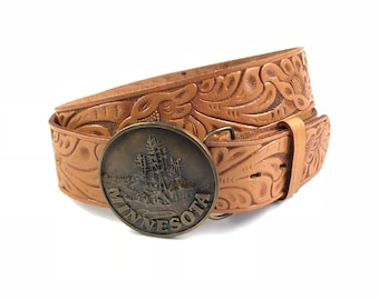 Vintage Tooled Leather Floral Top Grain Cowhide Belt with Minnesota Buckle 1970's 70's