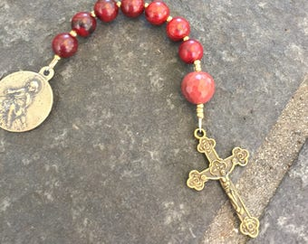 Anglican Chaplet  Protestant Prayer Beads Episcopal Prayer Beads  Baby Jesus Medal Red Wood Beads and Moukite
